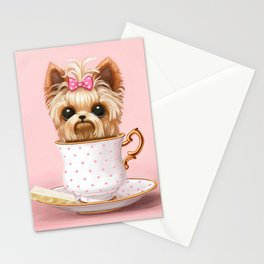 Yorkie In A Teacup Stationery Cards