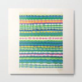 Afghan rug - colorful wavy stripes Metal Print