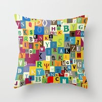 alphabet Throw Pillows featuring Alphabet by Rceeh