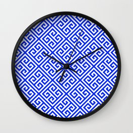 blue white pattern, Greek Key pattern -  Greek fret design Wall Clock