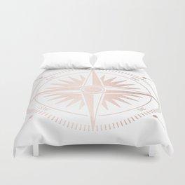 Rose Gold on White Compass Duvet Cover