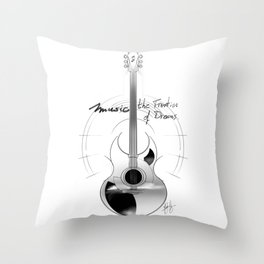 The acoustic guitar - Music, The Frontier of Dreams. Throw Pillow