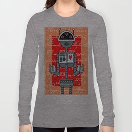 Nerdy Robot Print with math formulas in background Long Sleeve T-shirt