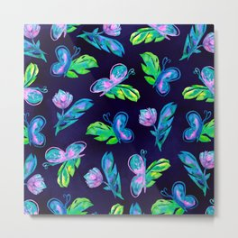 Green Pink Navy Butterfly Flower Leaves Watercolor Metal Print