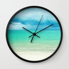 Blue Turquoise Tropical Sandy Beach Wall Clock