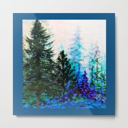 TEAL COLOR  MOUNTAIN  PINE FOREST LANDSCAPE Metal Print