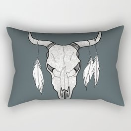 Southwestern Decorated Bull Skull Rectangular Pillow