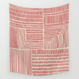 Digital Stitches whole beige + red Wall Tapestry