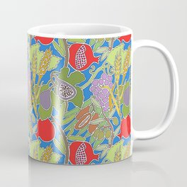 Seven Species Botanical Fruit and Grain with Blue Background Coffee Mug