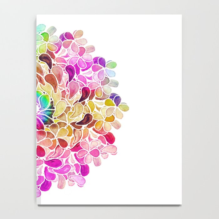 Rainbow Watercolor Paisley Floral Notebook