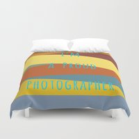 photographer Duvet Covers featuring Proud Photographer by Katayoon Photography