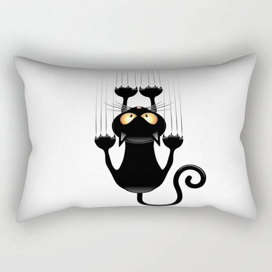 Black Cat Cartoon Scratching Wall Rectangular Pillow