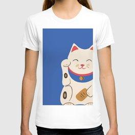 Blue Lucky Cat Maneki Neko T-shirt