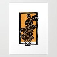 Fiddle Leaf Fig Block Print (Orange) Art Print