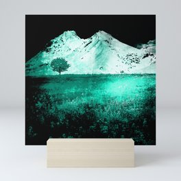 Teal Tree Mountain Meadow Mini Art Print