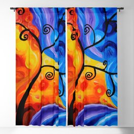 Abstract Orange/Blue Blackout Curtain