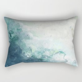 Coastal Beach Art Watercolor Indigo Blue and White Rectangular Pillow