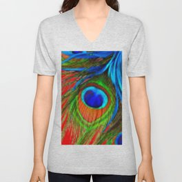 RED & BLUE-GREEN  BAROQUE  PEACOCK FEATHERS ART Unisex V-Neck
