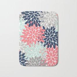 3727055b9126 Flower Burst Petals Floral Pattern Navy Coral Mint Gray Bath Mat