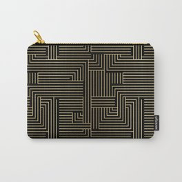 Black and gold art-deco geometric pattern. Carry-All Pouch