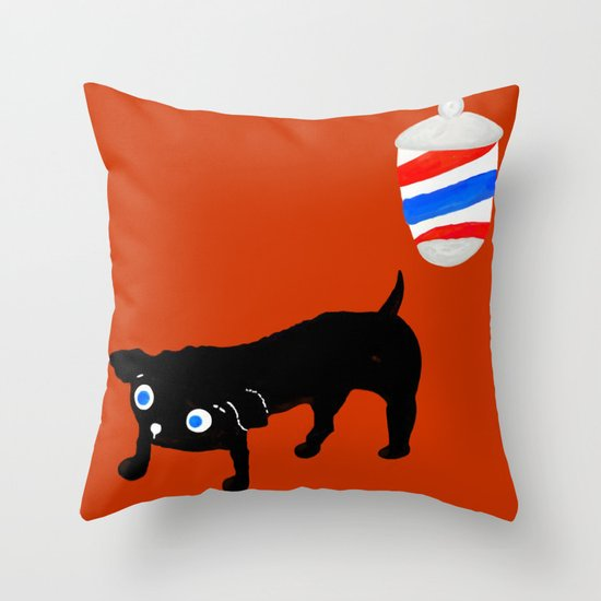 Hairdresser's black dog Throw Pillow