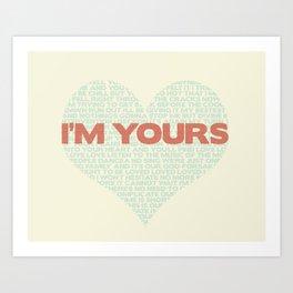 I'm Your's Jason Mraz Song Heart Typography Art Print