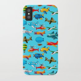 Cute Airplanes Helicopters Airships  Pattern iPhone Case