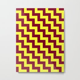 Electric Yellow and Burgundy Red Steps LTR Metal Print