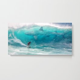 Surfing with a Giant Shark Metal Print