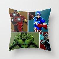 avenger Throw Pillows featuring Avenger Team by Carrillo Art Studio