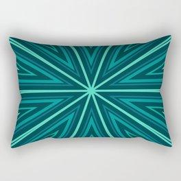 Barcode Sunburst Square (Teal Shades) Rectangular Pillow
