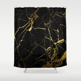 Black-Gold Marble Impress Shower Curtain