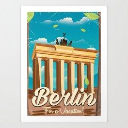 brandenburg gate Berlin german vintage travel poster Art Print