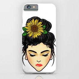 Messy Bun & Sunflower Mom Life iPhone Case