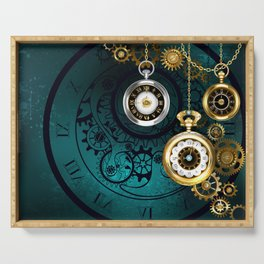 Clock with Gears on Green Background ( Steampunk ) Serving Tray
