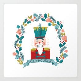 Nutcracker Christmas Floral Art Print
