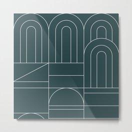 Deco Geometric 04 Teal Metal Print
