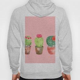 Three Cacti watercolor pink Hoody