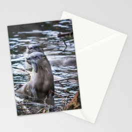 Otters Having Breakfast on the River Stationery Cards