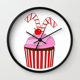 Cupcakes And Candy Canes Wall Clock