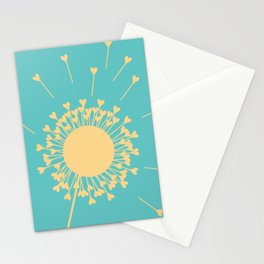 Yellow Dandelion Hearts On Teal Background Stationery Cards