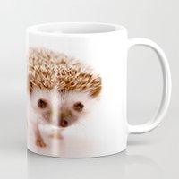 hedgehog Mugs featuring Hedgehog by Derek Doi