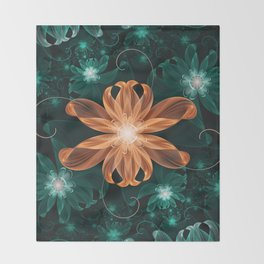 Alluring Turquoise and Orange Tiger Lily Flower Throw Blanket