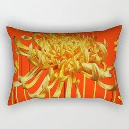 SURREAL YELLOW SPIDER MUM & BUTTERFLIES ORANGE ART Rectangular Pillow