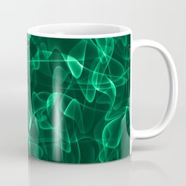 Emerald marble and cosmic luminous lines in iridescent style. Coffee Mug