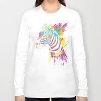 zebra Long Sleeve T-shirts featuring Zebra Splatters by Olechka