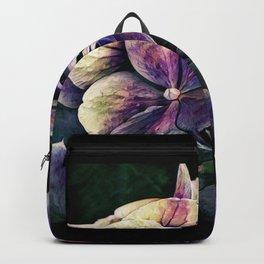 Hortensia flowers in vintage grunge watercoloring style Backpack