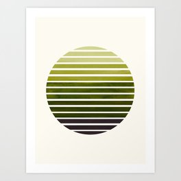 Olive Green Mid Century Modern Minimalist Scandinavian Colorful Stripes Geometric Pattern Round Circ Art Print