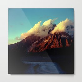 clouds hovering on mountain Metal Print