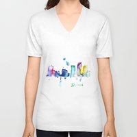 detroit V-neck T-shirts featuring Detroit City  by Monique Edwards